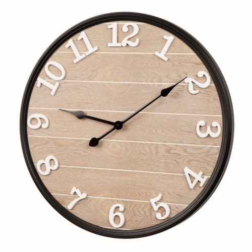 Glitzhome Farmhouse Modern Black Metal/Wooden Wall Clock Perspective: right