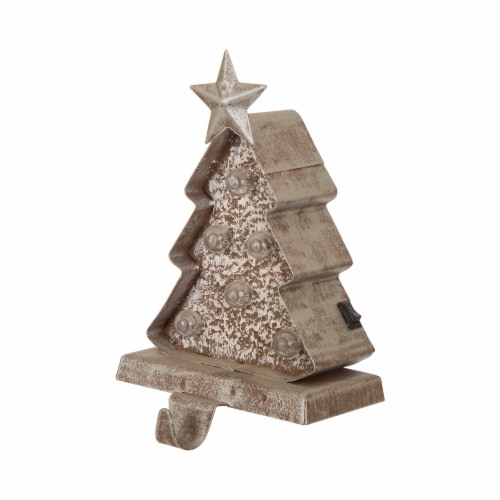 Glitzhome Marquee LED Wooden/Metal Christmas Tree & Star Stocking Holder Perspective: right