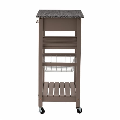 Glitzhome Rolling Kitchen Island with Marble Top - Warm Gray Perspective: right