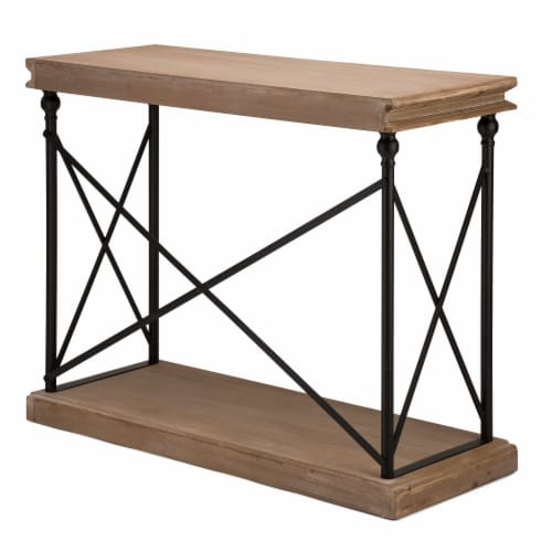 Glitzhome X-Shaped French Vintage Antiqued Finish Console Table Perspective: right