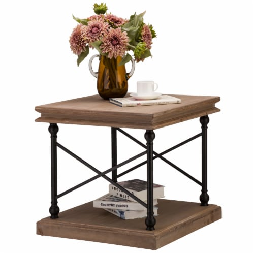 Glitzhome X-Shaped French Vintage Antiqued Finish Accent Table/Side Table Perspective: right