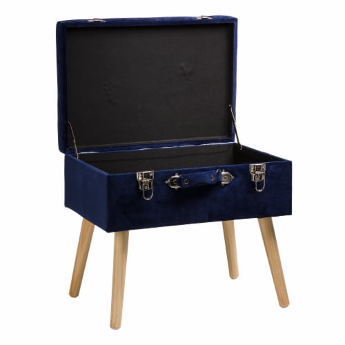 Glitzhome Velvet & Wooden Upholstered Storage Stool - Navy Blue Perspective: right