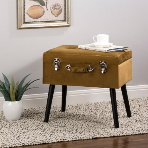 Glitzhome Velvet Upholstered Storage Stool with Legs - Gold Perspective: right
