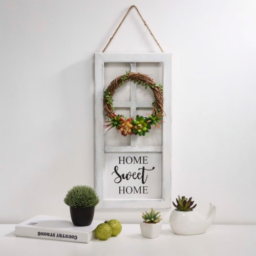 Glitzhome Wreath and Succulent Wooden Door Frame Wall Decoration Perspective: right
