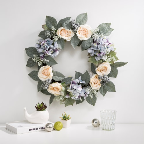 Glitzhome Spring Wreath with Artificial Hydrangea Rose and Green Leaves Perspective: right