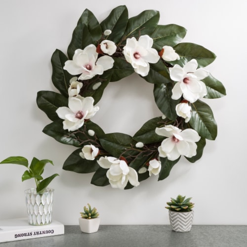 Glitzhome Spring and Summer Artificial Magnolia Wreath Perspective: right