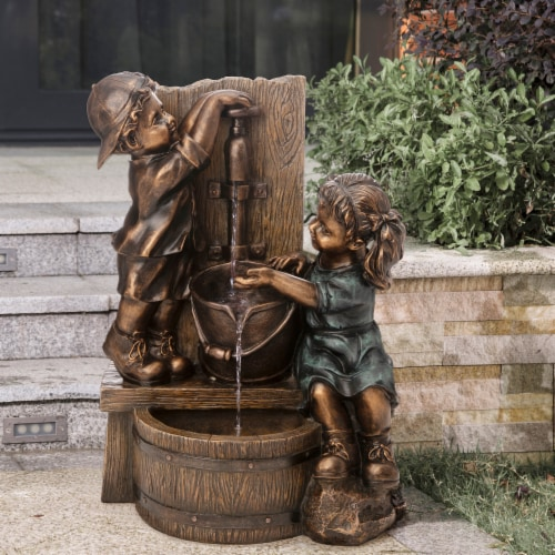 Glitzhome Boy and Girl Polyresin Sculptural Outdoor Fountain With Pump Perspective: right