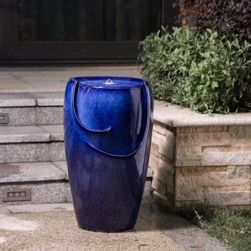 Glitzhome Ceramic Outdoor Fountain with Pump and LED Light - Cobalt Blue Perspective: right