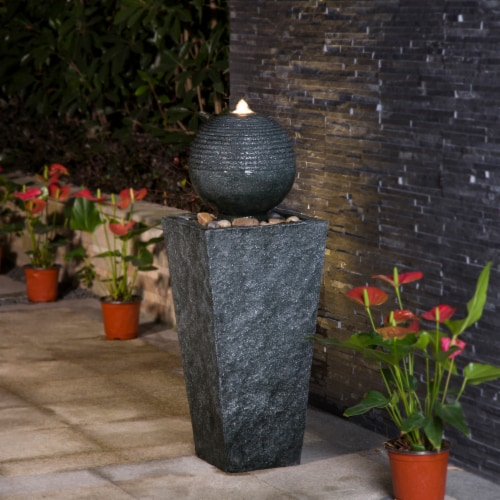 Glitzhome Rippling Floating Sphere Pedestal Polyresin Outdoor Fountain Perspective: right