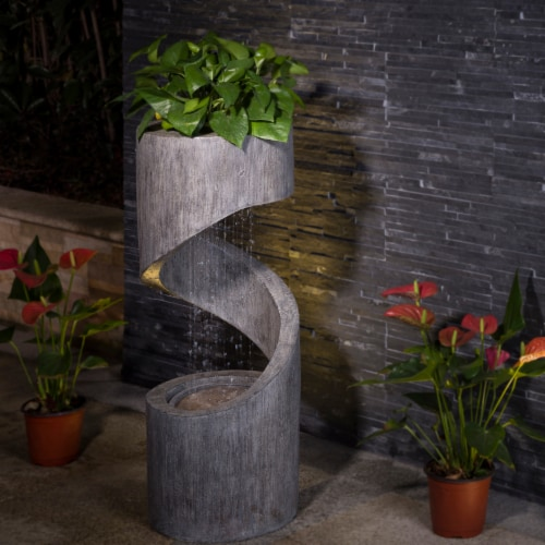 Glitzhome Curving Shaped Polyresin Outdoor Fountain With Pump & LED Light Perspective: right