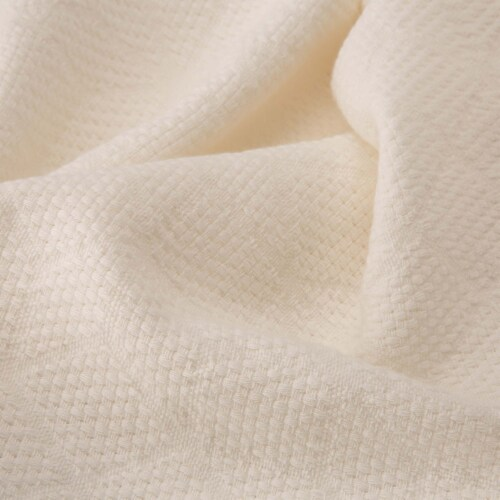 Glitzhome Geometry Cotton Woven Tassel Throw Blanket - White Perspective: right