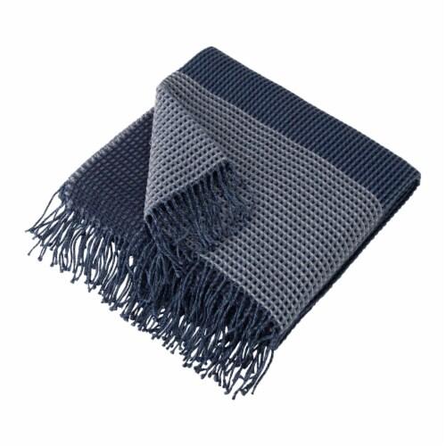Glitzhome Contemporary Woven Tassel Throw Blanket - Indigo Perspective: right