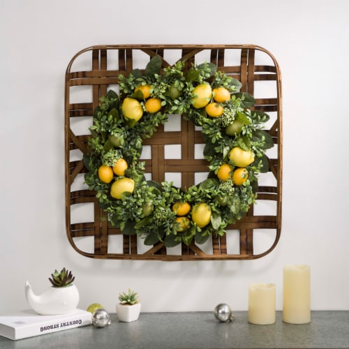 Glitzhome Bamboo Tobacco Basket with Greenery Lemon Wreath Perspective: right