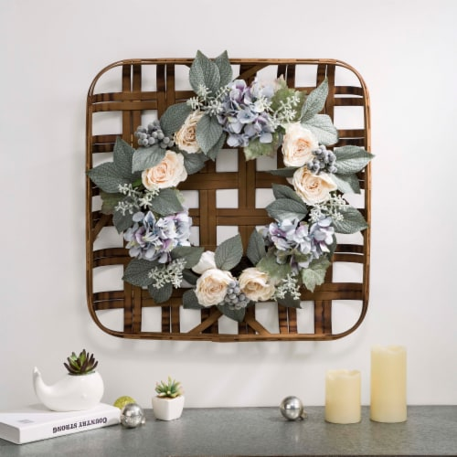 Bamboo Tobacco Basket with Hydrangea Rose Wreath Perspective: right