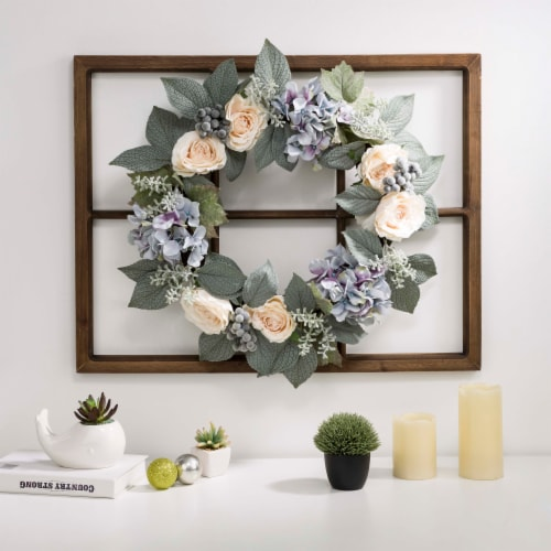 Glitzhome Wooden Window Frame with Hydrangea Rose Wreath Perspective: right