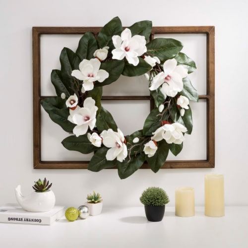 Glitzhome Wooden Window Frame with Artificial Magnolia Wreath Perspective: right