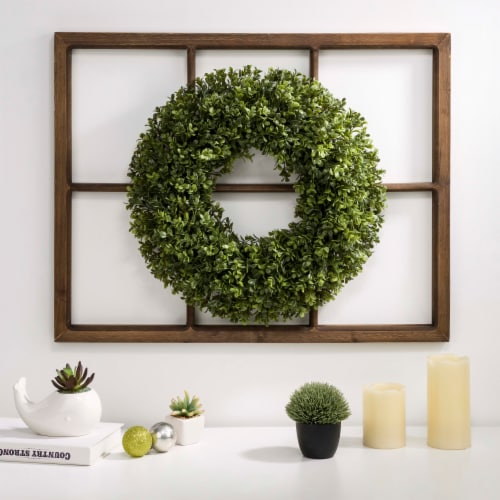 Glitzhome Boxwood Wreath & Wooden Window Frame Decoration Perspective: right