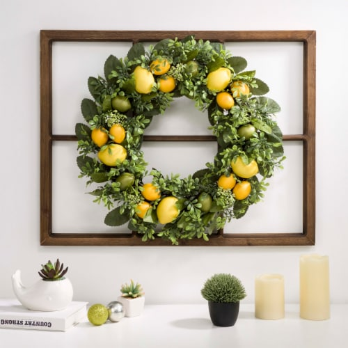 Glitzhome Wooden Window Frame with Greenery Lemmon Wreath Perspective: right