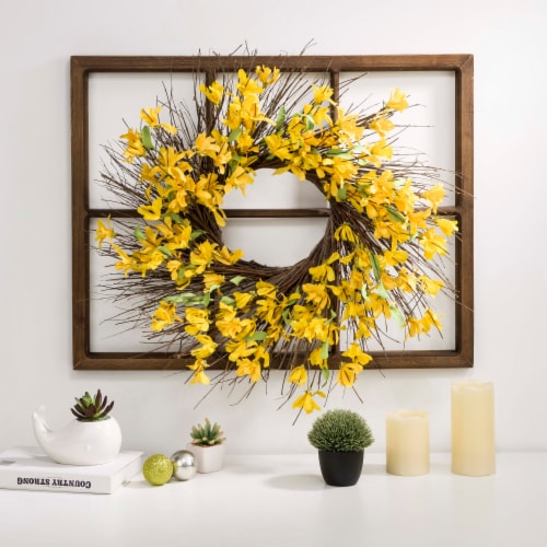 Glitzhome Wooden Window Frame With Artificial Winter Jasmine Wreath Perspective: right