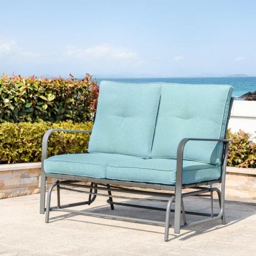 Glitzhome Outdoor Patio Garden Loveseat Glider Chair - Blue Perspective: right