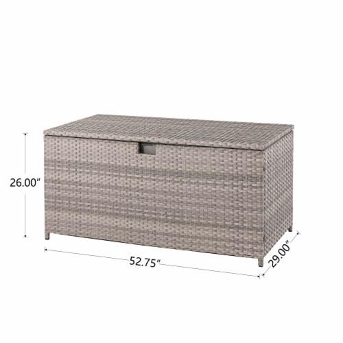 Glitzhome Outdoor Patio Garden Wicker Storage Deck Box - Gray / Cream Perspective: right