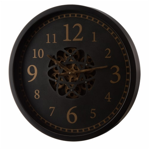 Glitzhome Modern Oversized Metal Wall Clock with Moving Gears Perspective: right