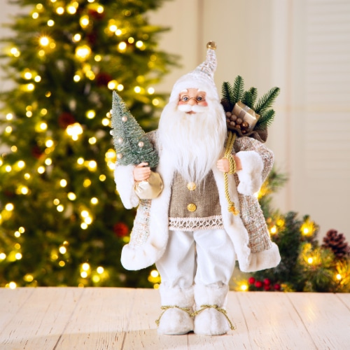 Glitzhome Christmas Santa Figurine - Gold/Silver Perspective: right