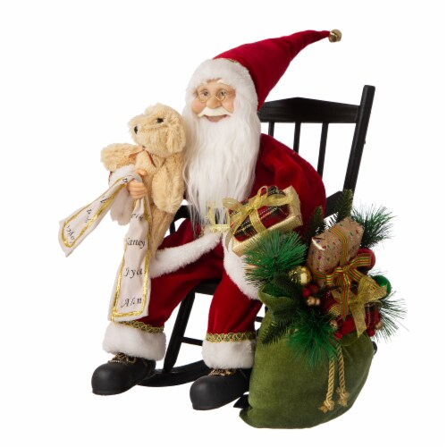 Glitzhome Christmas Sitting Santa Figurine with Wooden Rocking Chair Perspective: right