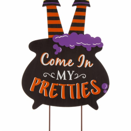 Glitzhome Halloween Wooden Witch Yard Stake Decor Perspective: right