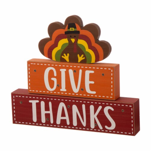 Glitzhome Wooden Lighted Thanksgiving Turkey Wood Block Table Decoration Perspective: right