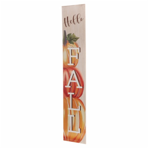 Glitzhome Wooden Hello Fall Porch Sign - Large Perspective: right