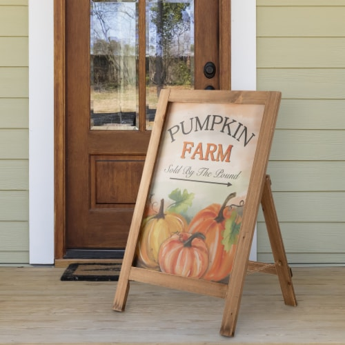 Glitzhome Wooden Fall Pumpkin Farm Porch Standing Sign Perspective: right