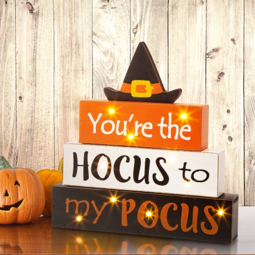 Glitzhome Halloween Wooden Lighted Witch/Word Block Table Décor Perspective: right
