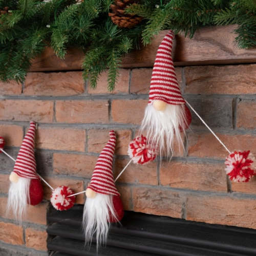 Glitzhome Fabric Gnome Gardland Christmas Decor - Red / White Perspective: right