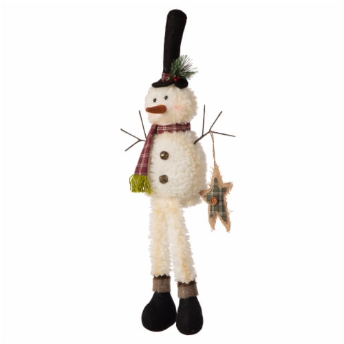 Glitzhome Fabric Christmas Snowman Shelf Sitter with Dangling Legs Perspective: right