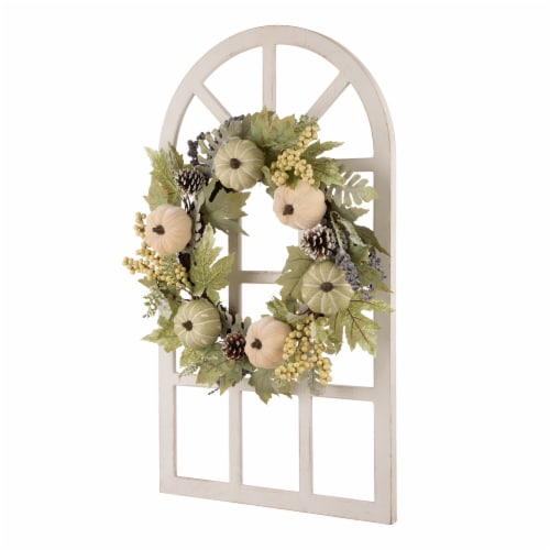 Glitzhome Wooden Fall Pumpkin and Pinecone Window Frame Wreath Perspective: right