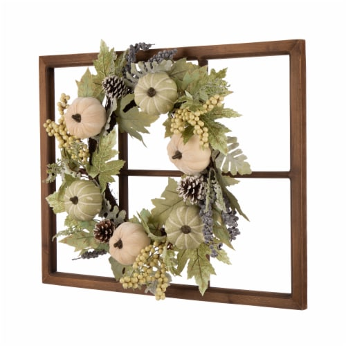 Glitzhome Wooden Fall Pumpkin Window Frame Wreath Perspective: right