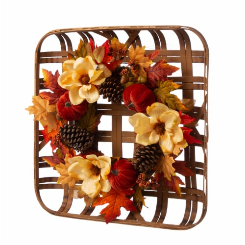 Glitzhome Blooming Magnolia Bamboo Tobacco Basket Wreath Perspective: right