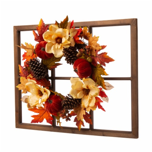 Glitzhome Blooming Magnolia Wooden Window Frame Wreath Perspective: right