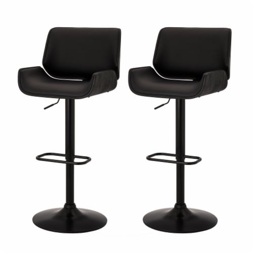 Glitzhome Mid-century Modern Swivel Bar Stools - Black Perspective: right