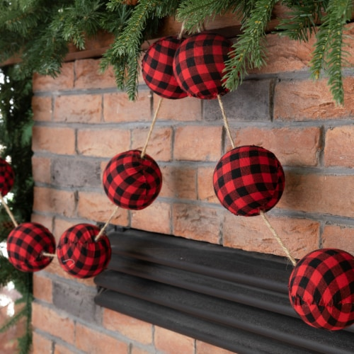 Glitzhome Plaid Fabric Garland Christmas Decor - Red/Black Perspective: right