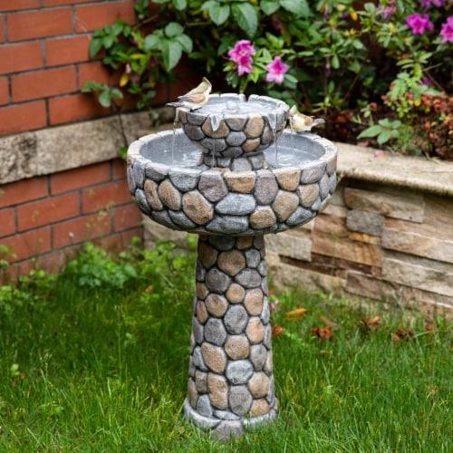 Glitzhome 2 Tier Stone-Like Birdbath Outdoor Fountain Perspective: right
