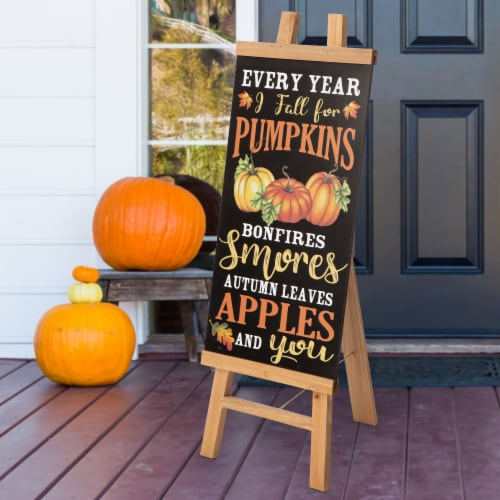 Glitzhome Double Sided Wooden Easel Porch Sign Perspective: right