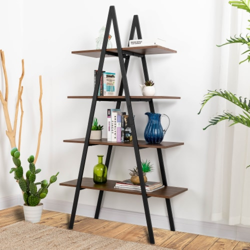 Glitzhome Metal & Wooden 4-Tier Bookcase and Ladder Shelves - Black / Walnut Perspective: right
