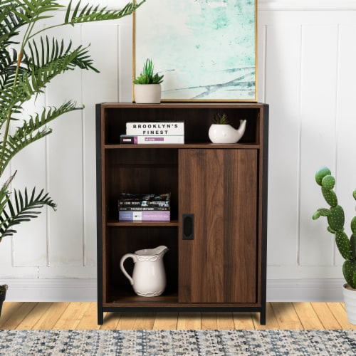 Glitzhome Wooden Metal Floor Cabinet with Double Sliding Doors - Walnut / Black Perspective: right