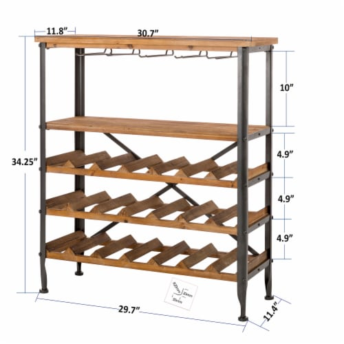 Glitzhome Vintage Wooden Wine Bottle and Glass Rack Perspective: right