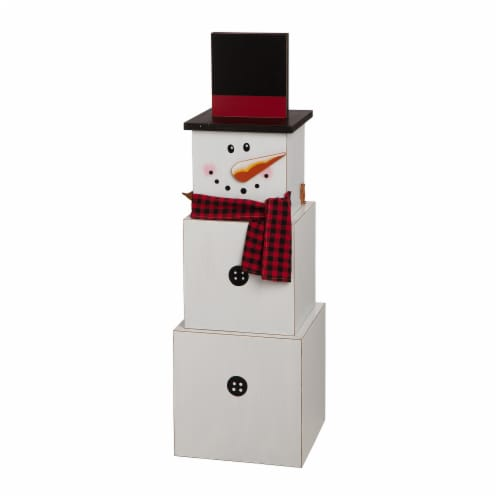 Glitzhome Wooden Double-Sided Snowman/Scarecrow Porch Decor Perspective: right