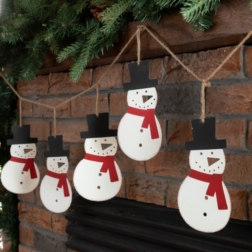 Glitzhome Metal Christmas Snowman Garland Holiday Decor Perspective: right