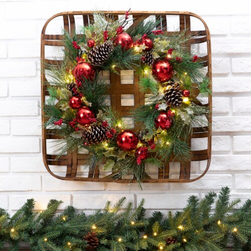 Glitzhome Wooden Window Frame & Pre-Lit LED Pinecone & Ornament Wreath Perspective: right
