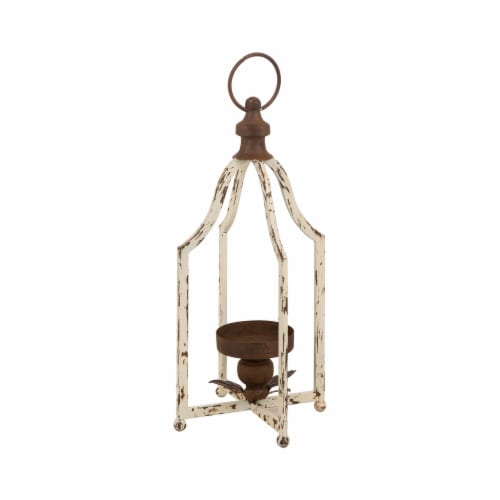 Glitzhome Farmhouse White Metal Lanterns Perspective: right